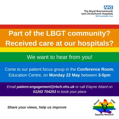 Join the LGBT Focus Group at Bournemouth Hospital